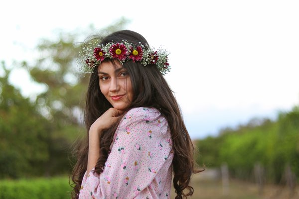 Pretty woman with flower crown